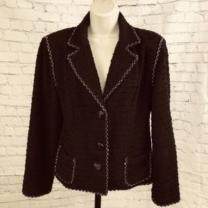 CAbi Womens Boucle Blazer Jacket Rickrack Tweed
